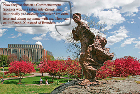 The statue of Justice Louis Brandeis, situated on the grounds of Brandeis University in Waltham, MA, can't take it anymore. Photo Credit: Brandeis.edu, with enhancement by Lori Lowenthal Marcus