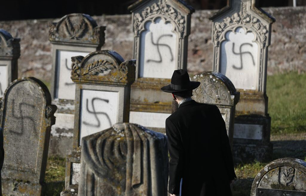 Vandalized tombs in the Jewish cemetery of Westhoffen, west of the city of Strasbourg, eastern France, on December 4, 2019.JEAN-FRANCOIS BADIAS/ASSOCIATED PRESS