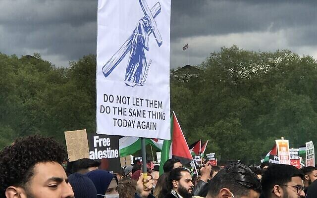 Banner at pro-Palestine rally Equity had backed accusing Jews of being Christ-killers
