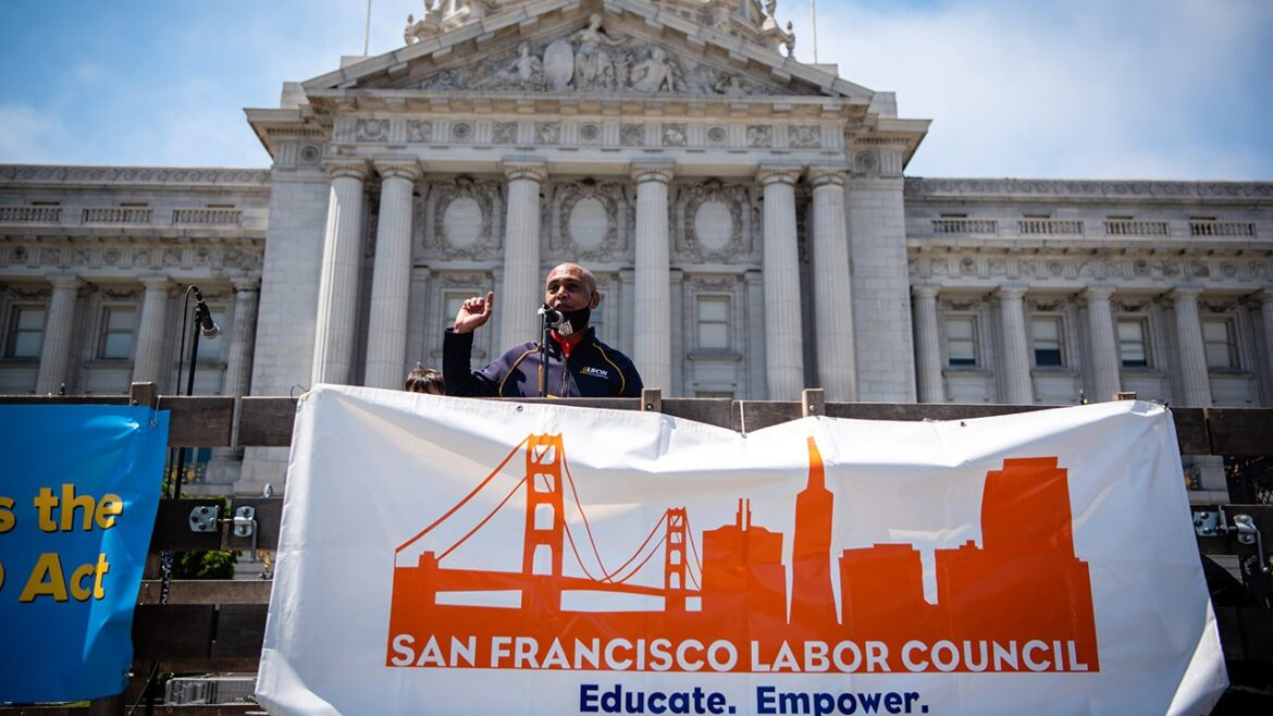 Tefere Gebre, AFL-CIO executive vice president, at the May Day Rally for Workers' Rights and Racial Justice in San Francisco, May 1, 2021. (Photo/Brooke Anderson Photography)
